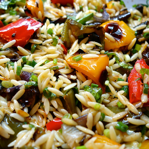Orzo Pasta Salad W/Grilled Vegetables & Herb Pesto